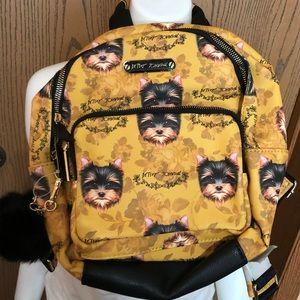 NWT Betsey Johnson Yorkie Dog Printed Backpack